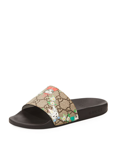 Gucci Pursuit Cat-Print GG Supreme Slide Sandals, Toddler/Kid