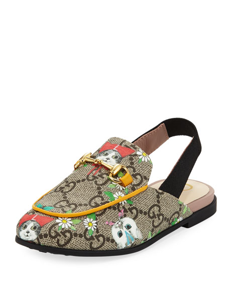 Gucci Princetown GG Supreme Horsebit Mule Slide, Toddler