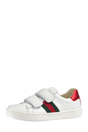 Gucci New Ace Web-Trim Leather Sneaker, Toddler/Kids