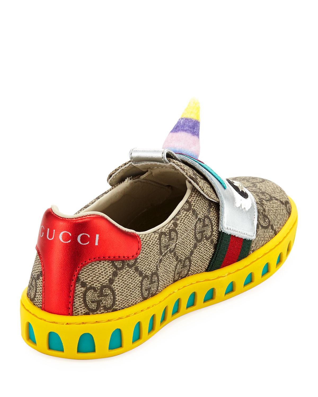379fdfde2 Gucci GG Supreme Canvas Sneaker w/ Unicorn, Kid | Neiman Marcus