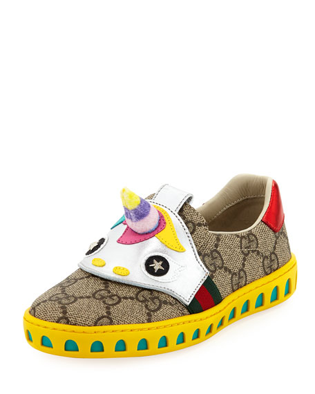 Gucci GG Supreme Canvas Sneaker w/ Unicorn, Kid