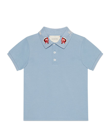 Gucci Cotton Stretch Pique Polo w/ Embroidered Collar,