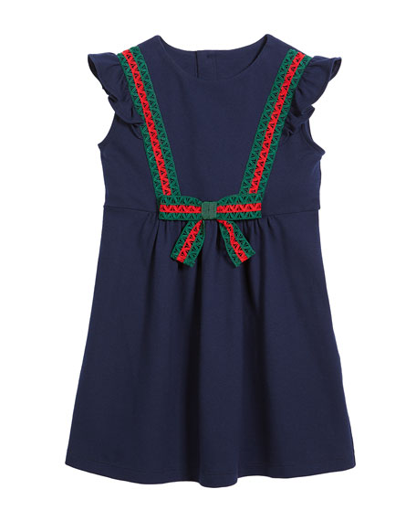 Cotton-Stretch Piquet Dress w/ Lace Web Trim, Size 4-12