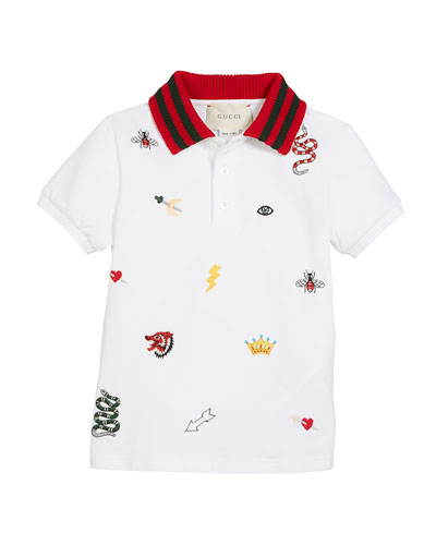 Icon-Embroidery Polo w/ Knit Collar, Size 4-12