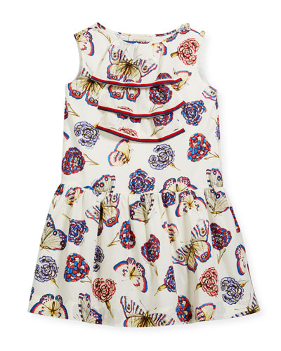 Butterfly-Print Sleeveless Dress w/ Web Trim, Size 4-12