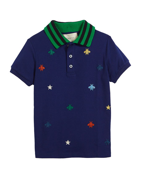 Gucci Bee & Star Embroidered Pique Polo w/