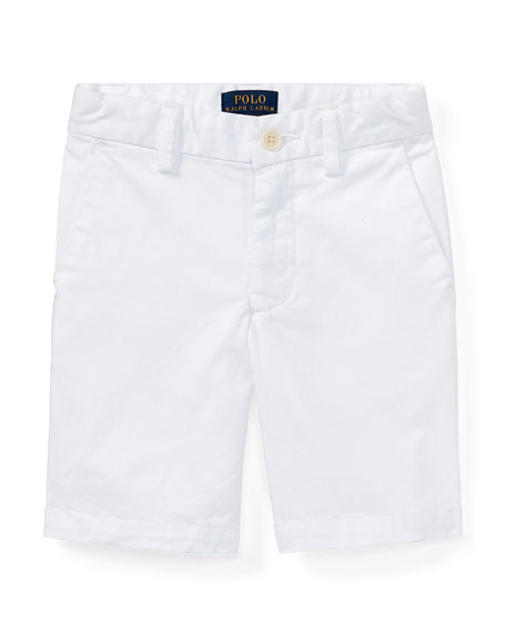 Stretch Chino Preppy Shorts, White, Size 5-7
