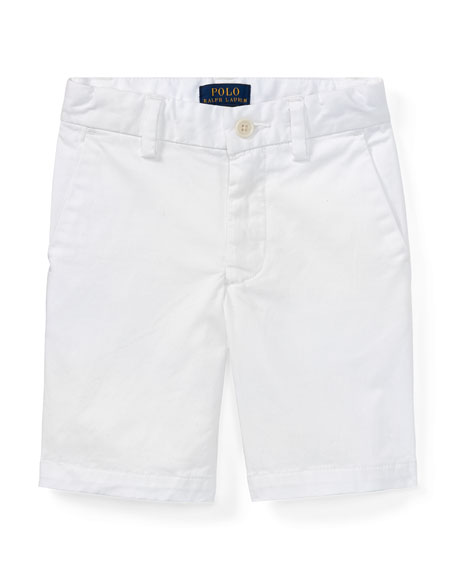 Ralph Lauren Childrenswear Stretch Chino Preppy Shorts, White,