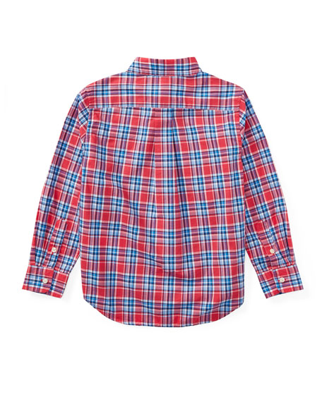 Poplin Plaid Button-Down Shirt, Red, Size 2-4