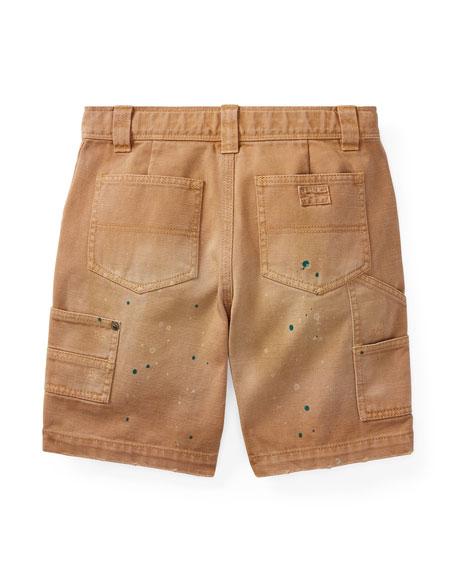Montauk Chino Carpenter Paint-Splatter Shorts, Beige, Size 5-7