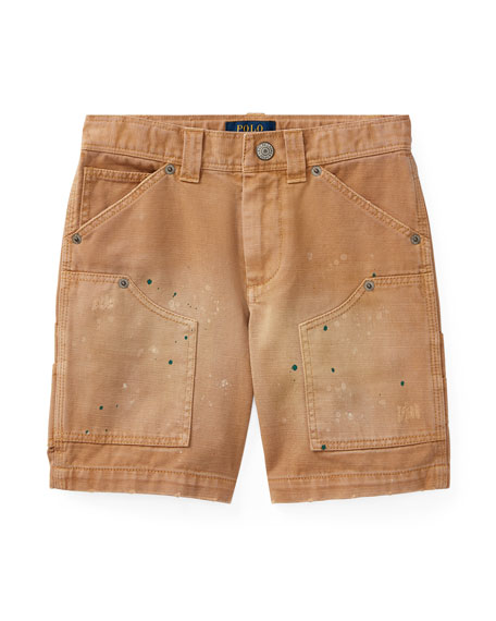 Montauk Chino Carpenter Paint-Splatter Shorts, Beige, Size 5-7