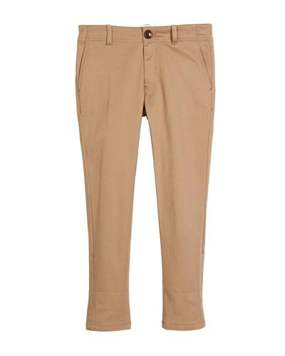 Cotton-Stretch Gabardine Pants w/ Rolled Web Hem, Size 4-12