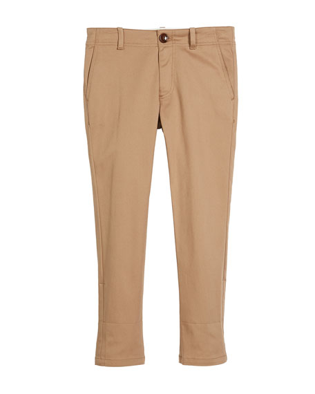 Gucci Cotton-Stretch Gabardine Pants w/ Rolled Web Hem,