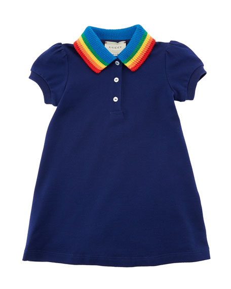 Gucci Polo Rainbow-Collar A-Line Dress w/ Butterfly Embroidery,
