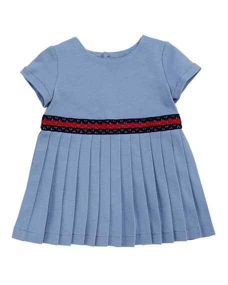Gucci Accordion-Pleated Web-Trim Dress, Size 3-36 Months