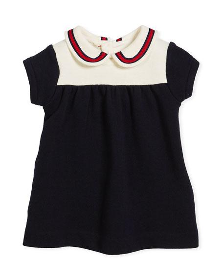 Gucci Peter Pan Web Collar Dress, Size 3-36