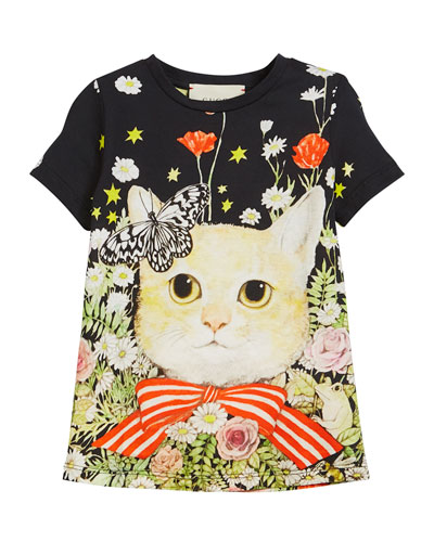 Short-Sleeve Cat in Garden T-Shirt, Size 4-12