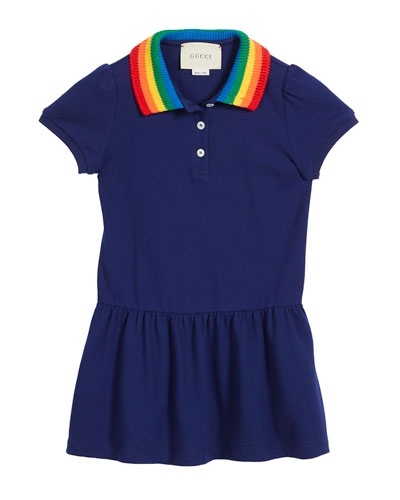 Polo Rainbow-Collar Dress w/ Butterfly Embroidery, Size 4-12