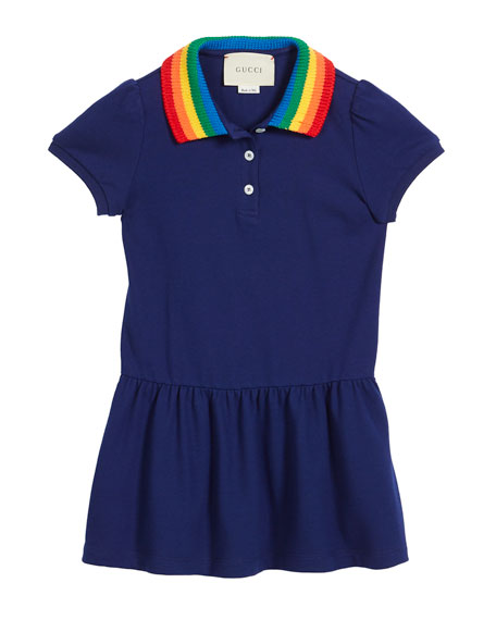 Gucci Polo Rainbow-Collar Dress w/ Butterfly Embroidery, Size