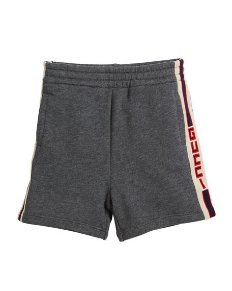 Logo Jacquard Side Jogger Shorts, Size 4-12