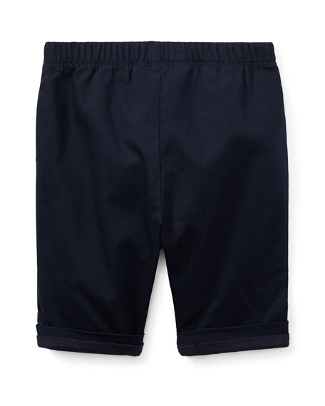 Bedford Pull-On Cotton Pants, Blue, Size 9-24 Months
