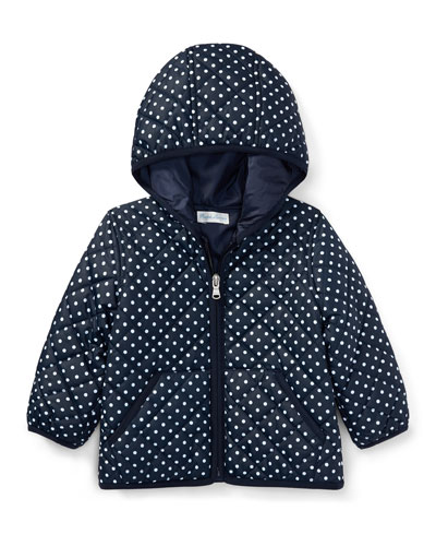 Matte Polka-Dot Zip-Up Hooded Jacket, Blue, Size 9-24 Months