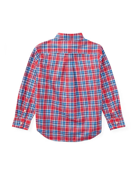 Poplin Plaid Button-Down Shirt, Red, Size 5-7