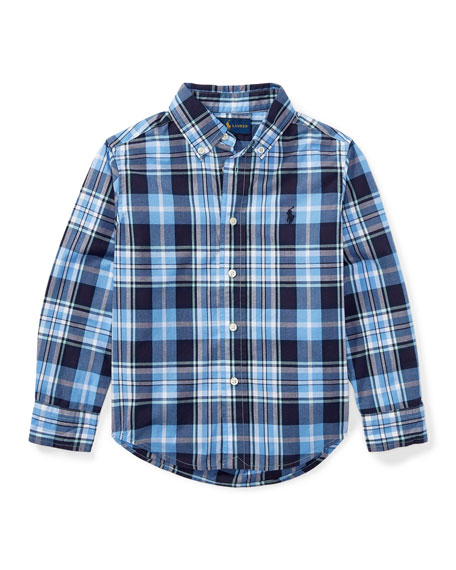 Poplin Long-Sleeve Button-Down Check Shirt, Blue, Size 5-7
