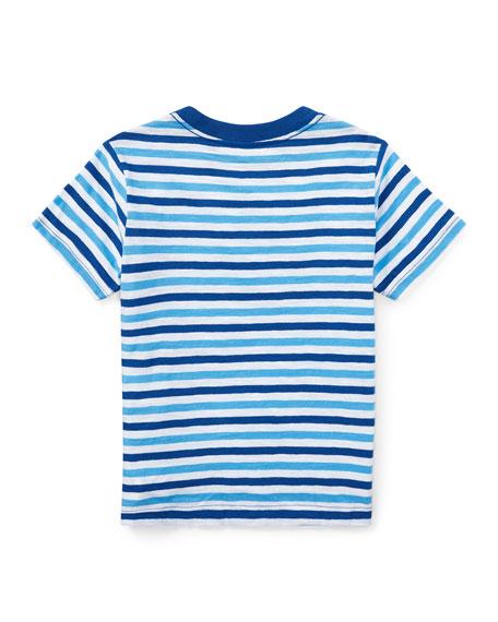 Slub Jersey Stripe T-Shirt, White/Blue, Size 5-7