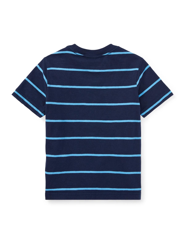 3c271d507 Ralph Lauren Childrenswear Slub Jersey Stripe T-Shirt, Blue, Size 5-7    Neiman Marcus