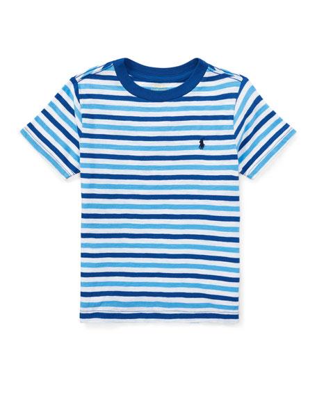 Slub Jersey Stripe T-Shirt, White/Blue, Size 2-4