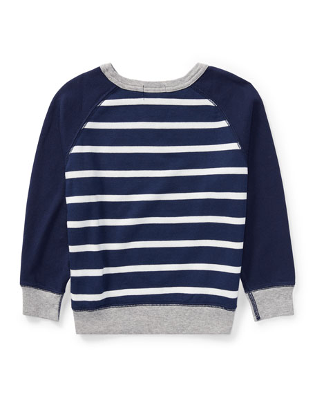 Spa Terry Stripe Knit Sweater, Blue, Size 2-4