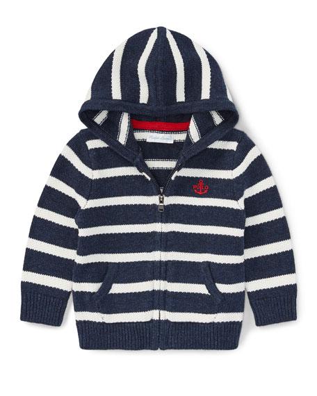 Ralph Lauren Childrenswear Striped Cotton Zip-Up Hoodie, Size