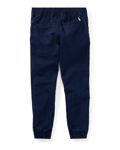 Cotton Poplin Jogger Pants, Blue, Size 2-4
