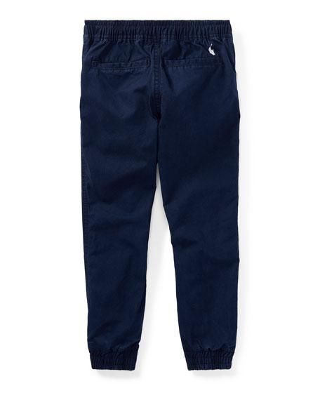 Cotton Poplin Jogger Pants, Blue, Size 2-4