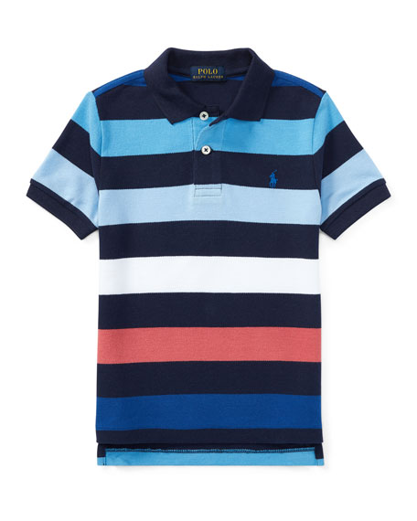 Mesh Striped Polo Shirt, Blue, Size 5-7