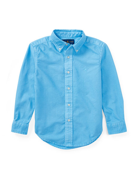 Garment Dye Oxford Shirt, Blue, Size 5-7