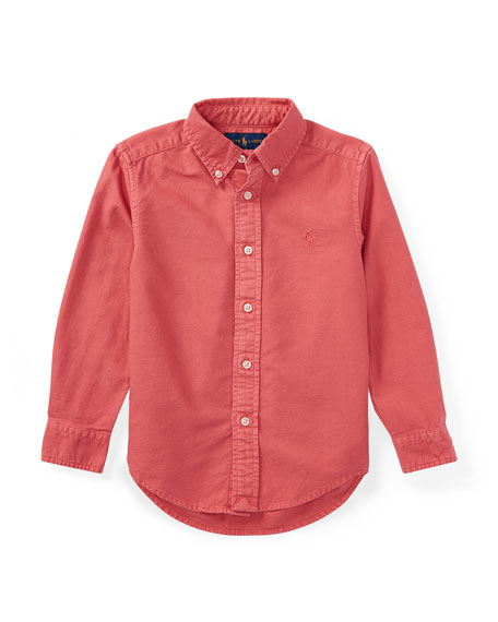 Garment-Dye Oxford Button-Down Shirt, Red, Size 5-7
