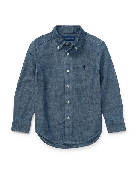 Chambray Long-Sleeve Shirt, Blue, Size 5-7