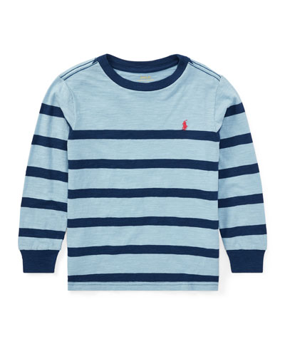 Slub Jersey Long-Sleeve Striped Shirt, Blue, Size 2-4