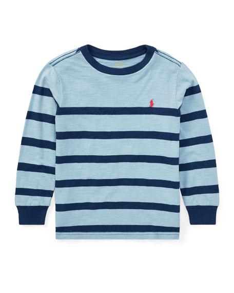 Slub Jersey Long-Sleeve Striped Shirt, Blue, Size 5-7