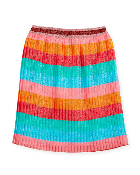 Multi-Stripe Metallic Pleated Skirt, Size 4-12