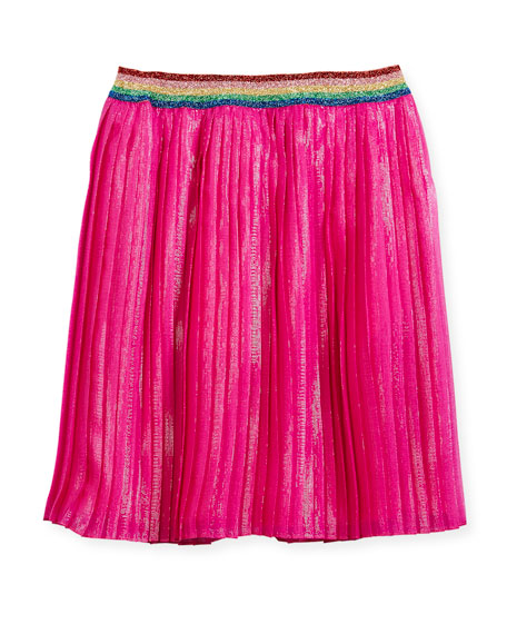 Metallic Organza Pleated Skirt, Size 4-12