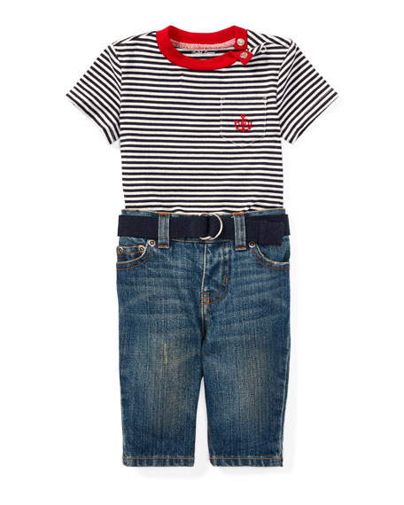 Ralph Lauren Childrenswear Striped Jersey Ringer Tee w/