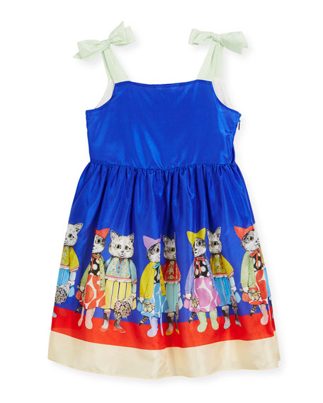 Silk Cat Friends Sun Dress, Size 4-12