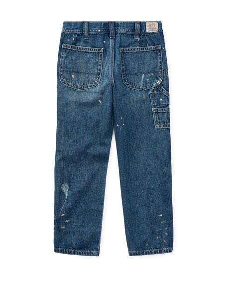 Denim Hampton Fit Jeans w/ Paint Splatter, Size 2-4