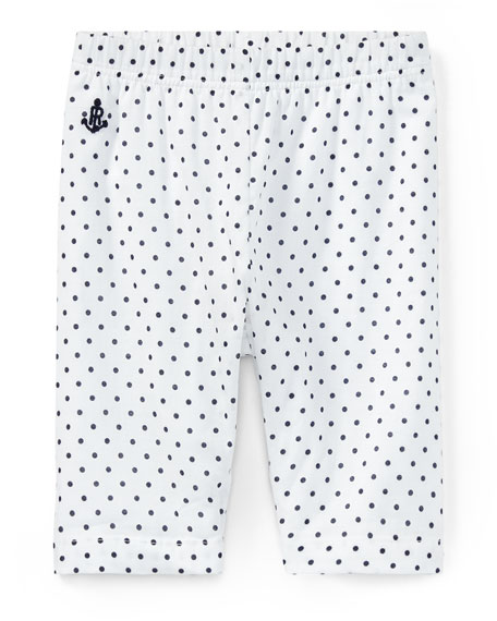 Ralph Lauren Childrenswear Batista Polka-Dot Pants, White/Blue,