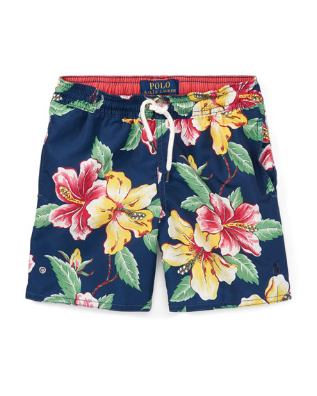 Ralph Lauren Childrenswear Captiva Floral-Print Swim Trunks, Size