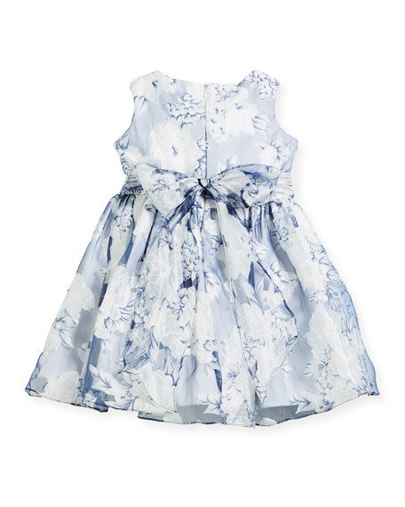 Camellias Organza Sleeveless Dress, Size 2-6