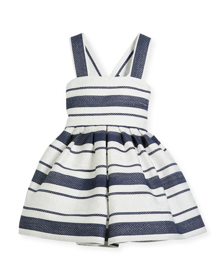 Helena Sophisticated Stripe Cross-Back Dress, Size 2-6